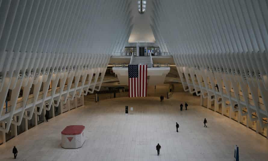 The Oculus transport hub and mall in lower Manhattan, New York City in May 2020.