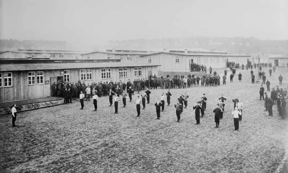 Allied prisoners of war exercising at Wünsdorf in 1915.