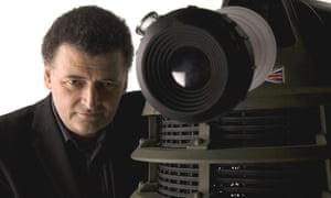 Doctor Who writer and executive producer Steven Moffat with a Dalek.