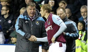 Jack Collison, here getting a good-luck handshake from Sam Allardyce, says: 'When Sam was under pressure from supporters, he never let it show to the players.'