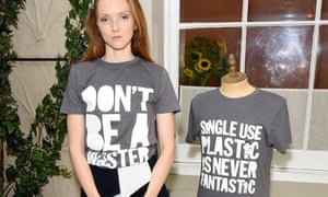 Lily Cole helps launch recycled plastic charity T-shirts designed by Henry Holland in 2017.