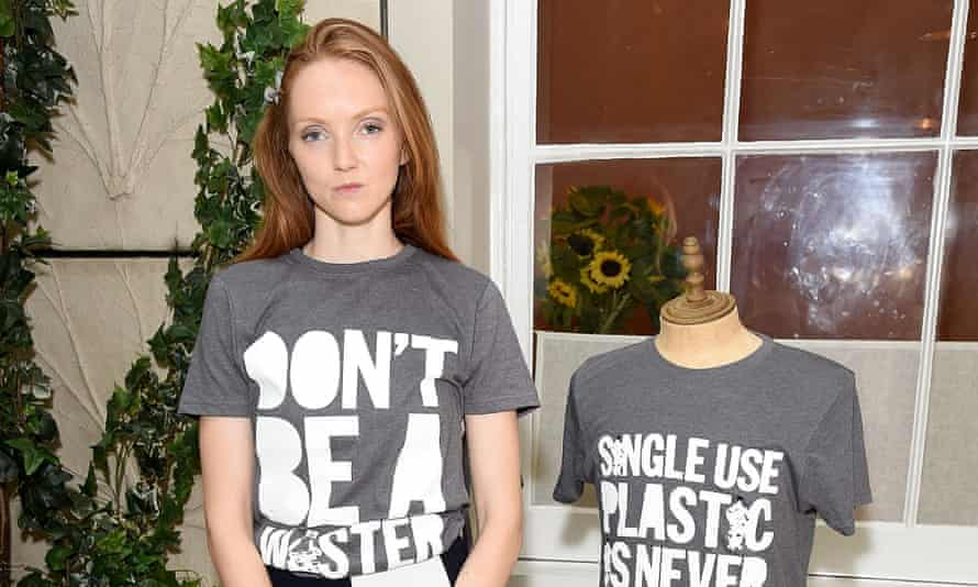 Lily Cole in T-shirt made from recycled plastic