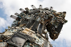 Tel Aviv, Israel. The head of a Cyber Horse, made from discarded electronic pieces, on display for the Cyber Week conference at Tel Aviv University