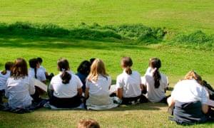 England, Cheshire, Stockport, Bramhall, schoolchildren working on field trip