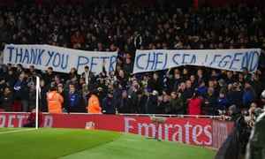 Chelsea fans show their appreciation for all that Petr Cech did for the Blues during his time between the sticks at Stamford Bridge.