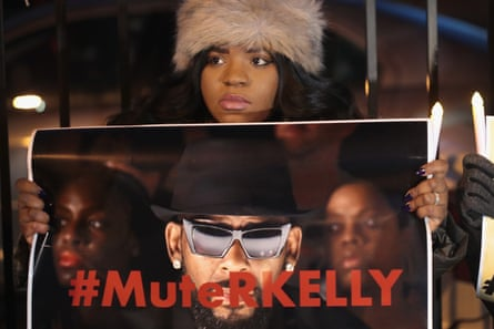 A demonstrator from the #MuteRKelly movement in January 2019.