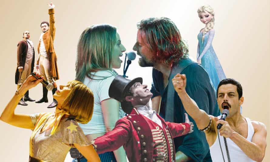 Hamilton; A Star Is Born; Frozen; Bohemian Rhapsody; The Greatest Showman; Mamma Mia! Here We Go Again.