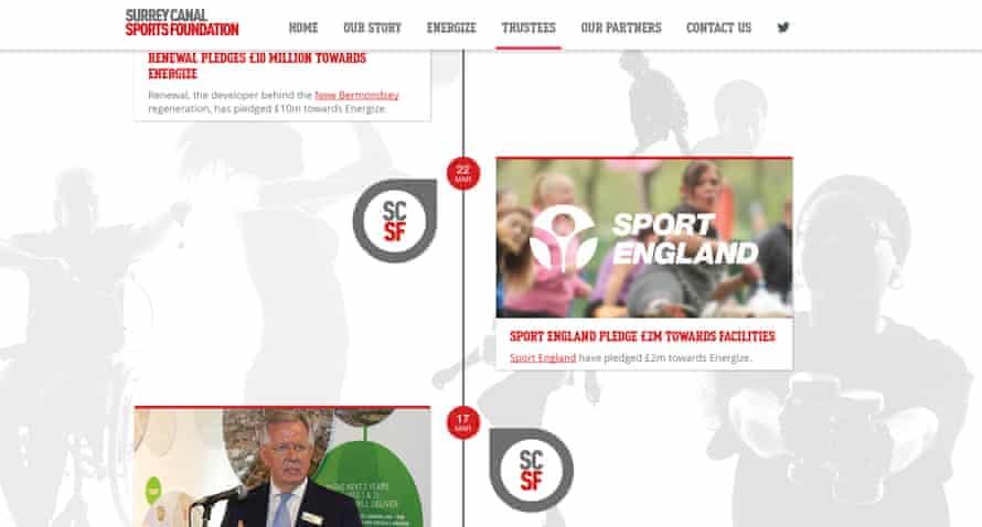 Surrey Canal Sports Foundation website, detailing £2m Sport England funding pledge.