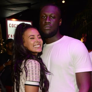 Jama and Stormzy at a launch party for her Pretty Little Thing fashion line.