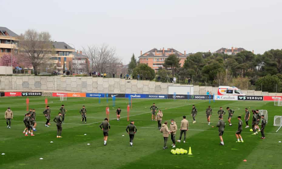 Atlético Madrid's players during a training session this week.