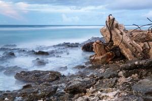 Waves crash on to shore in Funafuti, Tuvalu