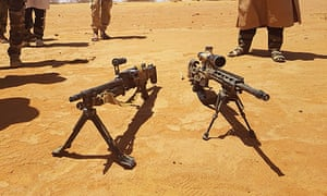 Menaka, Mali: heavy machine guns recovered during an operation conducted by militants of the Azawad Salvation Movement and said to have belonged to four American soldiers killed during an ambush in the Tongo Tongo area in west Niger.