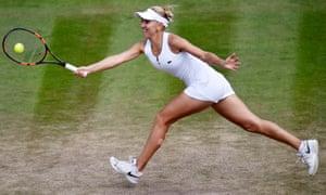 Elena Vesnina on her way to victory over Dominika Cibulkova.