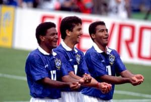 Mazinho (left), Bebeto (centre) and Romário celebrate Bebeto's goal with their now famous baby-rocking celebration.