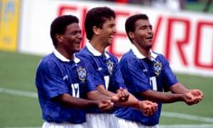 Bebeto, middle, celebrates for Brazil in 1994.