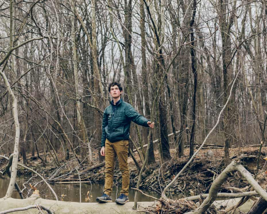Sunrise Movement Fellow, Jeremy Ornstein at Lake Artemesia in College Park, Maryland. Wednesday February 27, 2019. Ornstein is among a group of individuals working to effect change in environmental policy. The Sunrise Movement is a co-sponsor of the Green New Deal. (Photo by Jared Soares)
