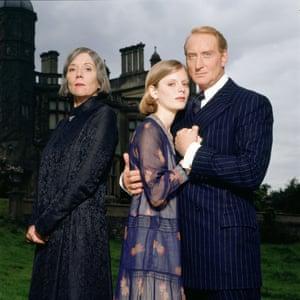 Diana Rigg as Mrs Danvers, Emilia Fox as The Second Mrs de Winter and Charles Dance as Maxim de Winter in Rebecca, 1997