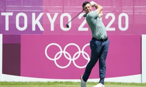 McIlroy on the first hole during the final round of the men's individual stroke play at Kasumigaseki Country Club.