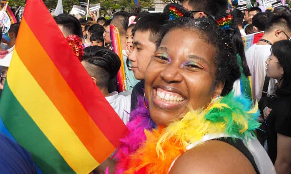 A woman from the US participates in the annual LGBT Pride march in Taipei, Taiwan