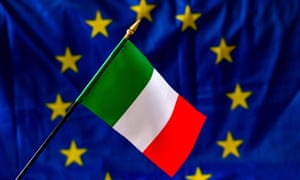 An Italian flag in front of the European Union flag