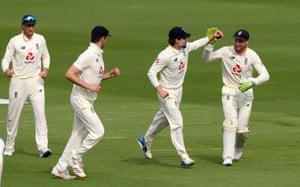 Burns celebrates taking the catch to dismiss Abid Ali.