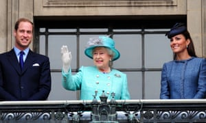 With Prince William and Kate, Duchess of Cambridge on the balcony at Nottingham's Council House, 2012.