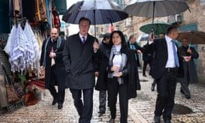 Vera Baboun shows former UK Prime Minister David Cameron around Bethlehem in 2014.