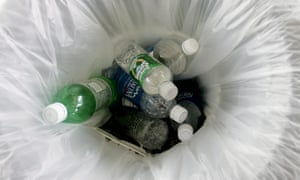 Plastic bottles in the bin at an airport security point