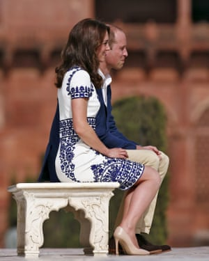 Prince William and his wife Catherine, the Duchess of Cambridge, pose at the Taj Mahal in Agra