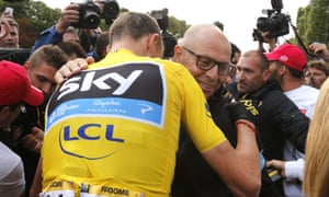 Team Sky's Sir Dave Brailsford congratulates Chris Froome after his victory in this year's Tour de France.