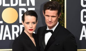 Claire Foy and Mat Smith in matching tuxedos.