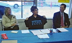 Threadbare … Sarah Palin supporting the Gravina Island bridge during a 2006 gubernatorial campaign.