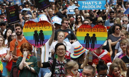 Supporters of marriage equality march near Victoria Park in Sydney, 21 October 2017.