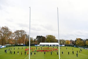 An England training session at The Lensbury in Teddington is halted for two minutes