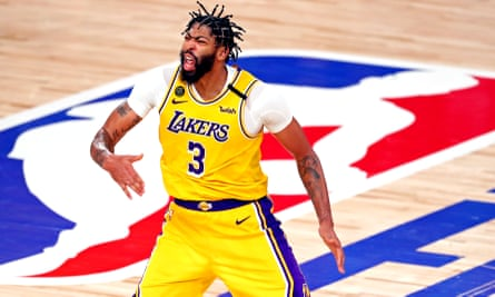 Anthony Davis celebrates after making a three-pointer during the Lakers' Game 4 victory over the Heat in the NBA finals
