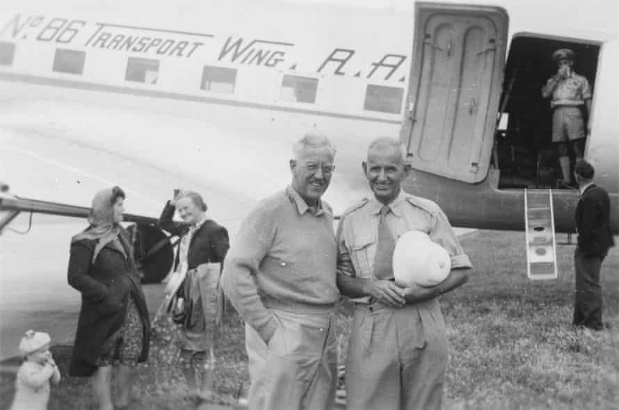 Charles Mountford and Frank Setzler upon arrival in Adelaide, 17 November 1948.