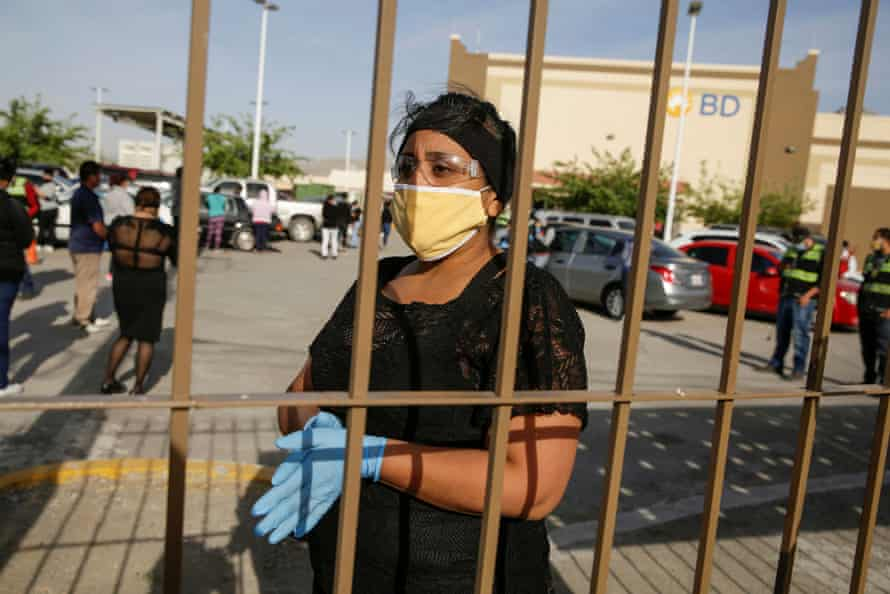 An employee of BD Medical Device company protests to halt work amid the spread of the coronavirus.