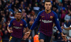 Philippe Coutinho celebrates after giving his side the lead
