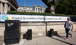London living wage poster outside Queen Mary University of London