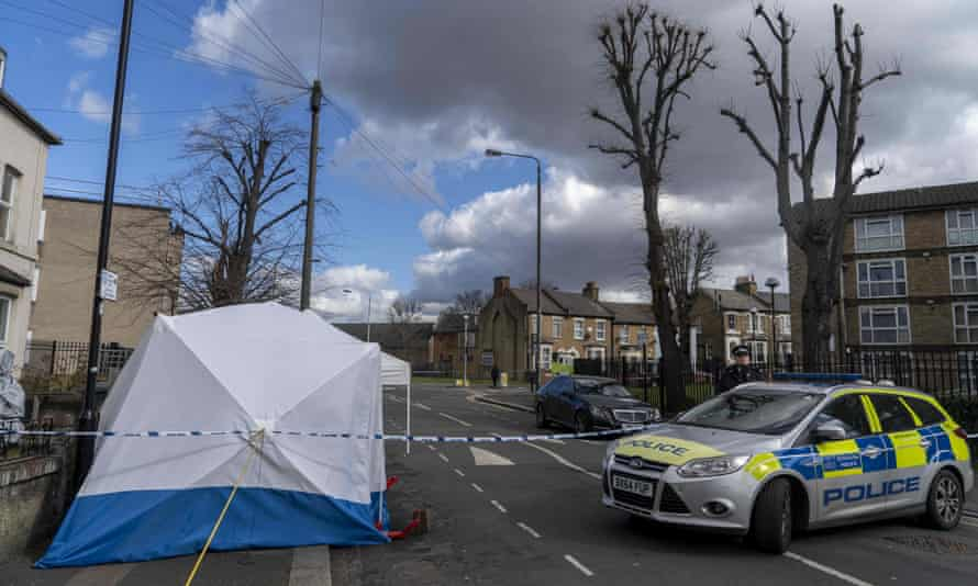 The scene of a fatal stabbing in Leyton, east London, March 2019