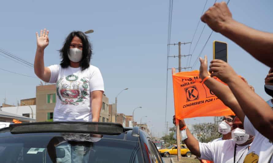 Keiko Fujimori greets supporters in Lima, Peru, on April 8.