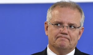 Scott Morrison<br>Australian Prime Minister Scott Morrison grimaces during a speech in Brisbane, Australia Tuesday, Jan. 29, 2019. Morrison has raised the prospect of the nation suffering its first economic recession in 28 years if the opposition wins general elections due by late May. (Darren England/AAP Image via AP)
