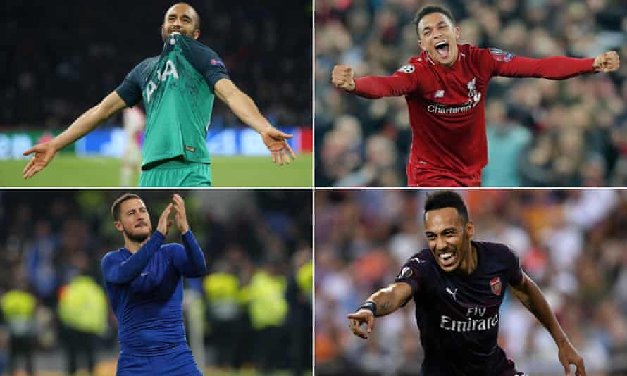 Clockwise from top left: Tottenham's Lucas Moura, Liverpool's Trent-Alexander Arnold, Arsenal's Pierre-Emeric Aubameyang