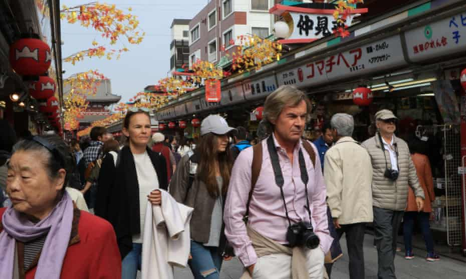 Tourists in the Asakusa district of Tokyo