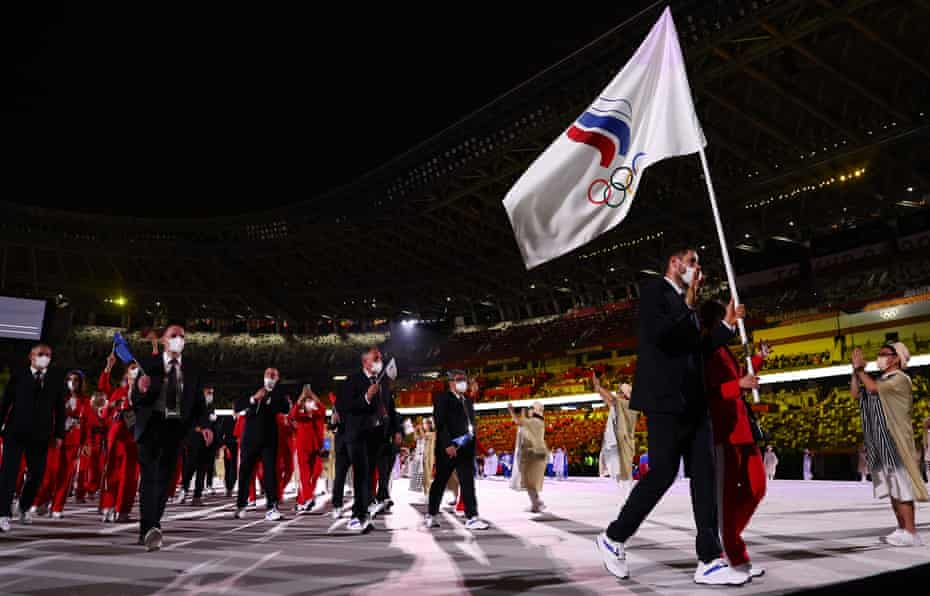 Russian Olympic Committee athletes at the opening ceremony in Tokyo