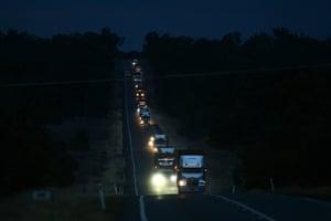 Daylight begins to break as the convoy departs Jerilderie for Narrandera