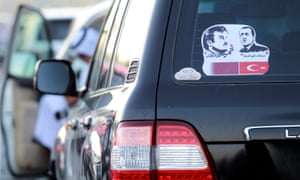 A car sticker supports Qatar's relationship with Turkey, which has deepened as a result of the blockade