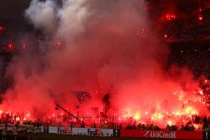 Marseille fans get flarey.