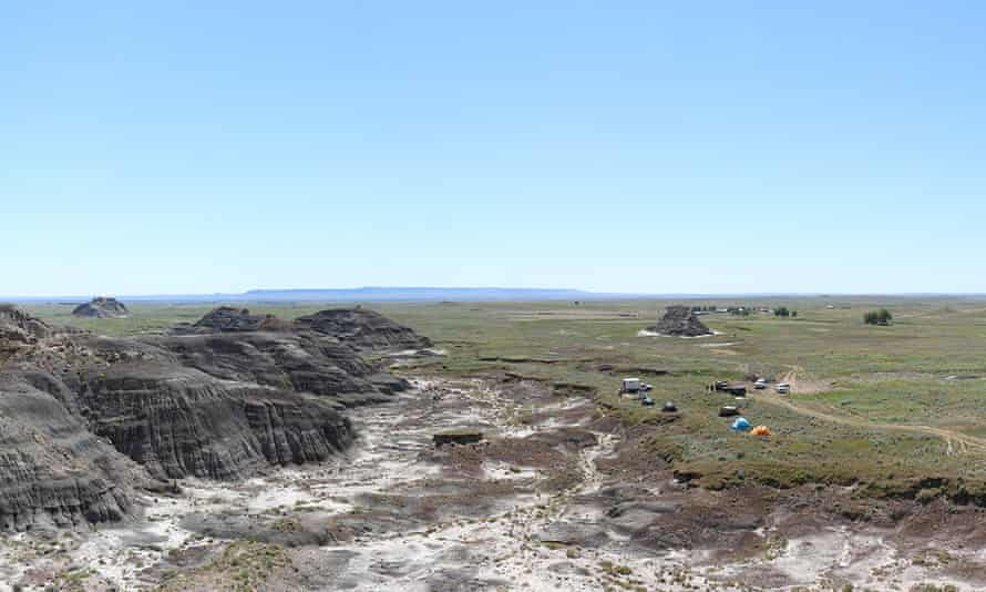 A panorama of the field site in the Montana badlands.