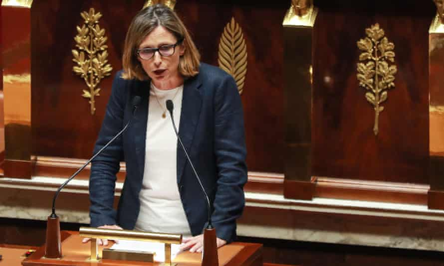 The French far-right MP Emmanuelle Ménard addresses the parliament's lower house during a debate on the bioethics bill.